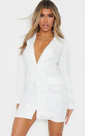 White Diamante Pattern Long Sleeve Blazer Dress | PrettyLittleThing