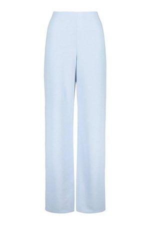 High Waist Basic Crepe Wide Leg Trousers | boohoo