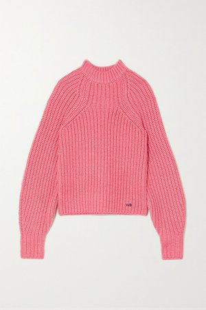 Pink Embroidered ribbed-knit sweater | Victoria, Victoria Beckham | NET-A-PORTER
