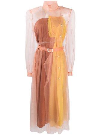 Orange Maison Margiela layered sheer shirt dress S29CT1007S42588 - Farfetch