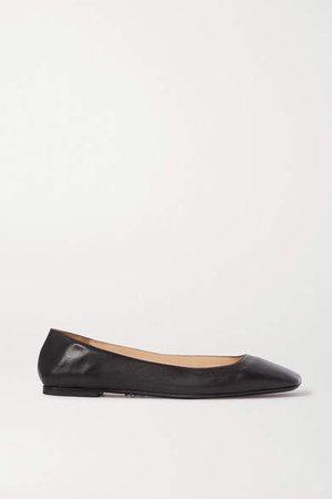 Square-toe Leather Ballet Flats - Black