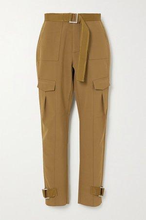 Skunk Belted Woven Cargo Pants - Green
