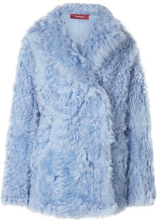 Sies Marjan Shearling Coat - Light blue