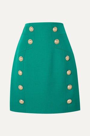 Button-embellished Grain De Poudre Wool Mini Skirt - Green