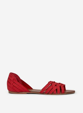 Red 'Jinxie' Leather Woven Sandals | Dorothy Perkins