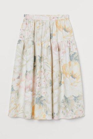 Patterned Skirt - Cream floral - Ladies | H&M US