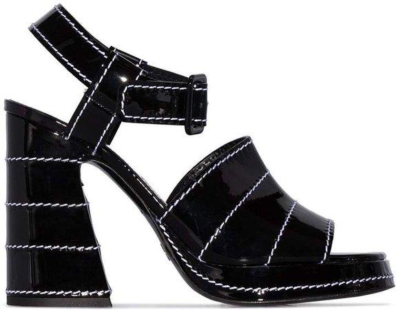 stitched 105mm platform sandals