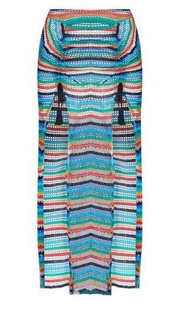 Multi Knit Double Split Beach Skirt | PrettyLittleThing
