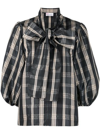 Valentino, bow-embellished checked blouse