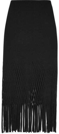 Fringed Cutout Jersey Midi Skirt - Black