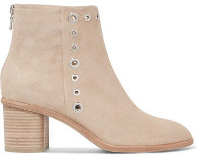 Willow Embellished Suede Ankle Boots - Beige