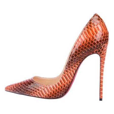 Christian Louboutin Python Burnt Orange Brown Evening Heels