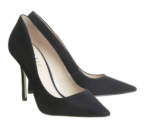 Office Hazelnut Point Court Slim Flared Heels Black Nubuck - High Heels