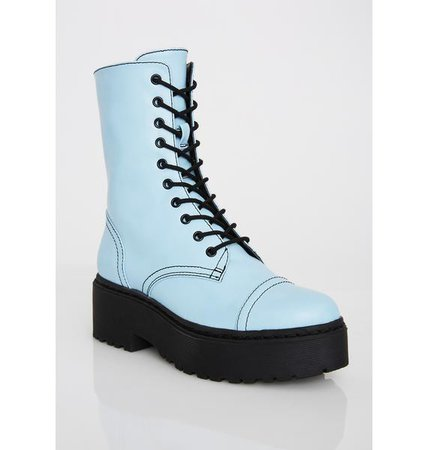 Current Mood Baby Blue Double Stack Combat Boots | Dolls Kill