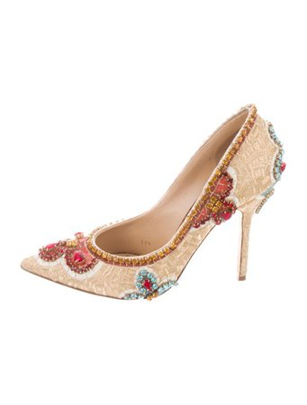Dolce & Gabbana Embellished Pointed-Toe Pumps - Shoes - DAG132581 | The RealReal