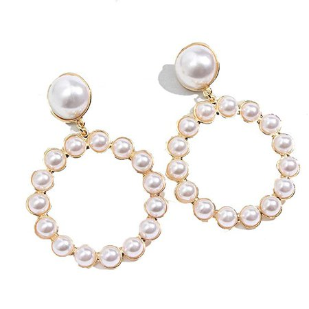 Amazon.com: Gold Round Drop Earrings Women Trendy Imitation Pearl Circle Pendant Big Dangle Earring Jewelry Gd: Clothing