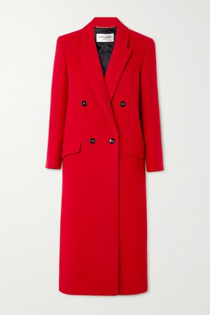 Double-breasted Cashmere And Wool-blend Coat - Red