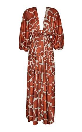 Lila Animal Print Crepe de Chine Maxi Dress by Retrofête   Moda Operandi