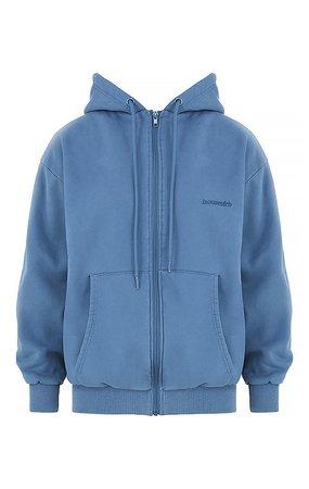 Clothing : Tops : 'Storm' Azure Zip Through Hoodie