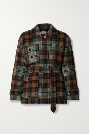 Belted Checked Wool-blend Twill Coat - Brown