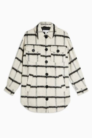 Black and White Stripe Jacket with Wool   Topshop