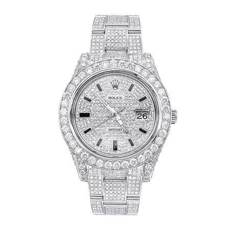 Iced Out Diamond Rolex Watch for Men Datejust with Diamond Bezel & Face 20c