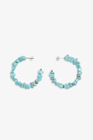Faux turquoise hoop earrings - Turquoise blue - Earrings - Monki WW