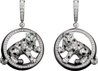 CRN8503700 - Panthère de Cartier earrings - White gold, emeralds, jade, onyx, diamonds - Cartier