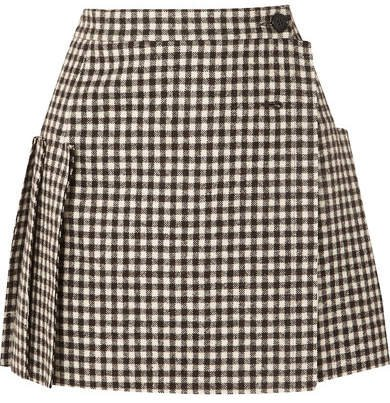 Frayed Pleated Gingham Wool Wrap Mini Skirt - Black