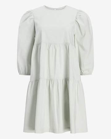 Tiered Trapeze Cotton Poplin Shift Dress | Express