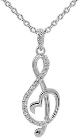 "Amazon.com: Hallmark Jewelry for Women Sterling Silver Treble Clef Music Note Pendant Necklace, 18"" Chain: Jewelry"