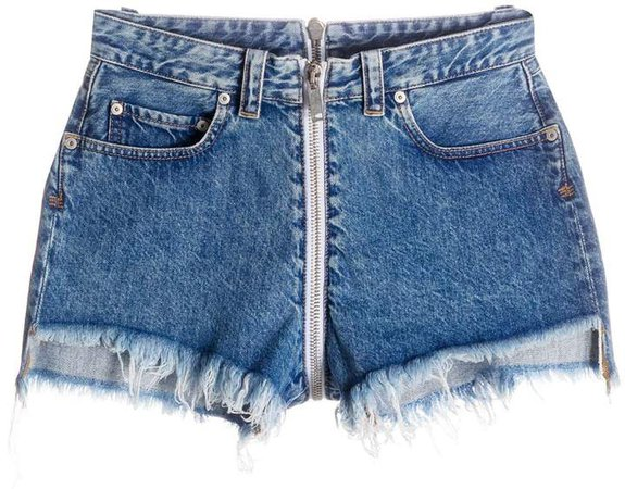 front-to-back raw denim shorts