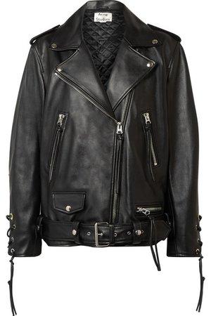 Acne Studios | Lastrid oversized lace-up leather biker jacket | NET-A-PORTER.COM