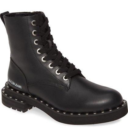 Calvin Klein Jeans Nannie Stud Welt Combat Boot (Women) | Nordstrom