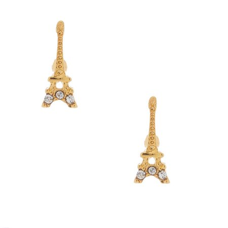 18kt Gold Plated Eiffel Tower Earrings | Claire's US