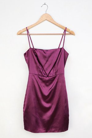 Purple Dress - Satin Mini Dress - Satin Bodycon Dress - Lulus