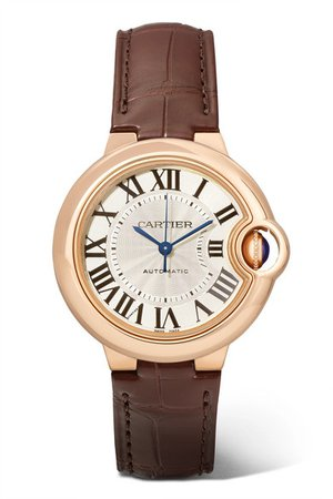 Cartier | Ballon Bleu de Cartier 33mm 18-karat pink gold and alligator watch | NET-A-PORTER.COM