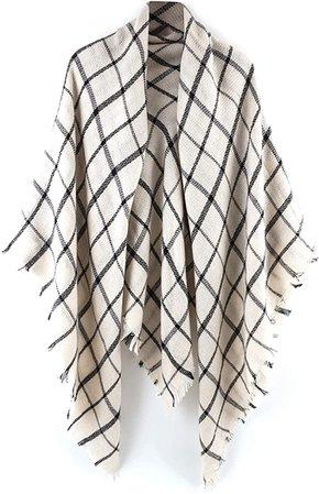 Amazon.com: Women's Plaid Blanket Scarf Wrap Stripe Shawl Checked Scarves Tartan Pashmina Cape: Clothing