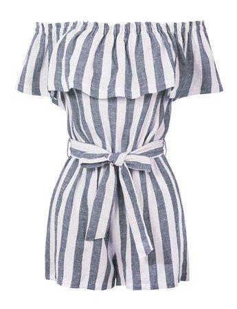 LE3NO Womens Summer Linen Striped Off Shoulder Flounce Ruffle Belted Romper Jumpsuit   LE3NO grey