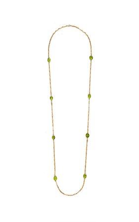 Goshwara G-One' Textured Leaf Chain Necklace With Peridot Tumble