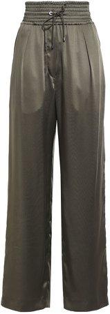 Velvet-trimmed Shirred Satin Wide-leg Pants