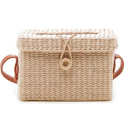 Sole Society Ellyn Straw Box Crossbody Bag   Nordstrom