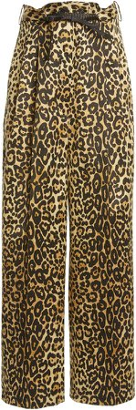 Tom Ford Leopard-Print Wide-Leg Cotton-Blend Pants