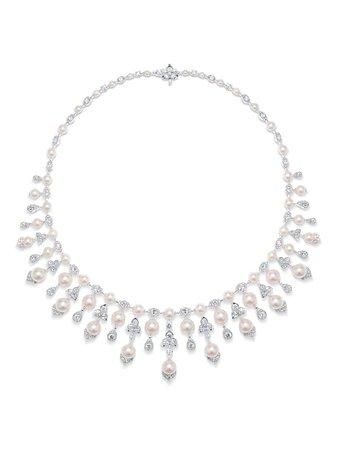 David Morris 18kt white gold Trillium Akoya pearl & white diamond necklace silver & white 1006551 - Farfetch
