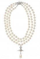Vivienne Westwood Three Rows Pearl Necklace   Rhodium Pearl   GarmentQuarter