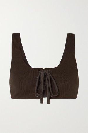 Lace-up Ribbed Bikini Top - Dark brown
