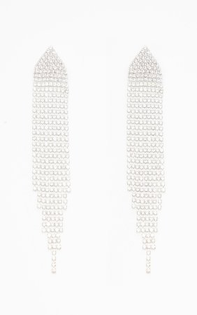 Silver Diamante Tassel Drop Earrings | PrettyLittleThing USA