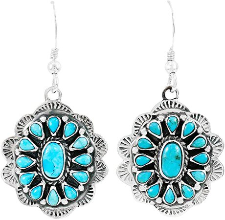 Amazon.com: Turquoise Earrings 925 Sterling Silver & Genuine Turquoise (Turquoise): Clothing