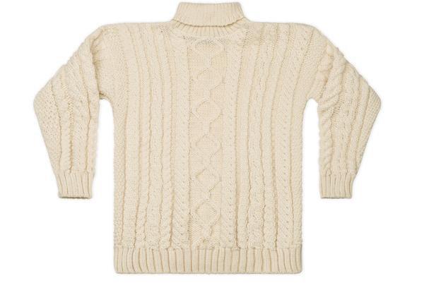 Polo Neck Aran Sweater In Cream - Guernsey Woollens Ltd