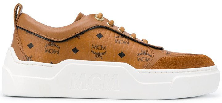 Calf Leather Logo Print Trainers